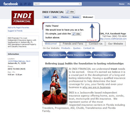 Example Custom Facebook Page for Insurance Agents